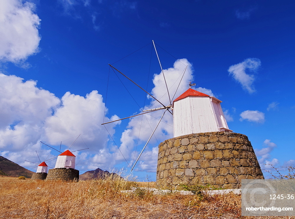 Traditional windmills of Porto Santo Island located on the way from Casinhas to Serra de Fora, Porto Santo, Madeira Islands, Portugal, Europe