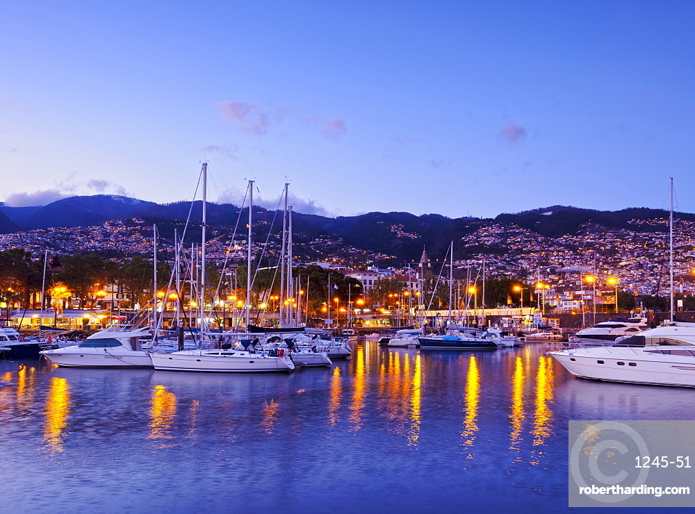Twilight view of the Marina do Funchal, Funchal, Madeira, Portugal, Atlantic, Europe