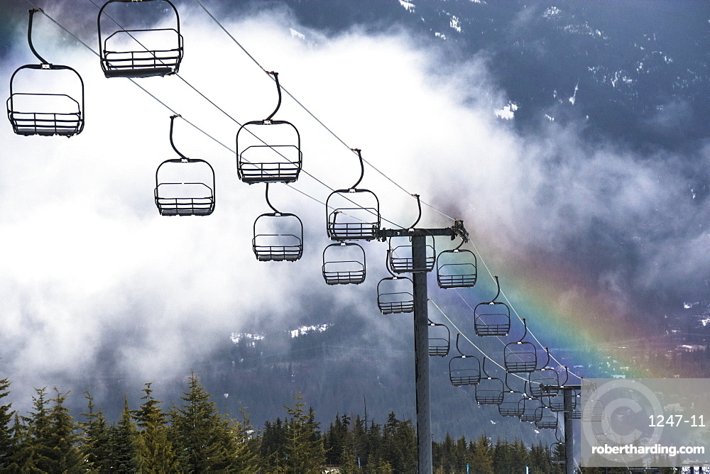 Rainbow over the Olympic Ski Lift in Whistler, British Columbia, Canada, North America