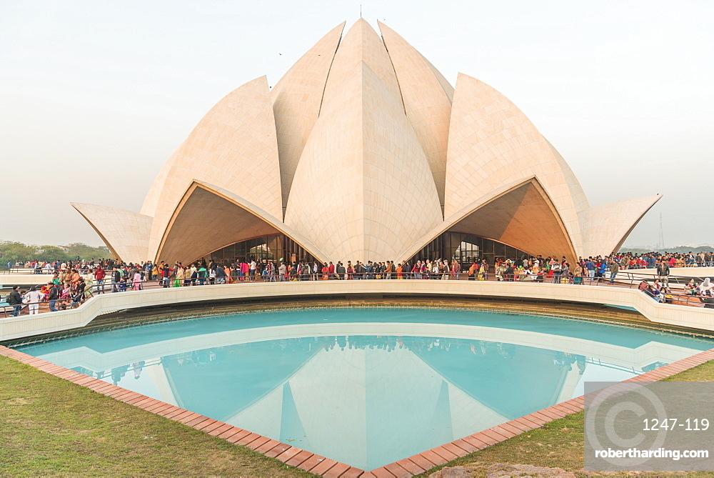 Sunset at the Lotus Temple, New Delhi, India, Asia