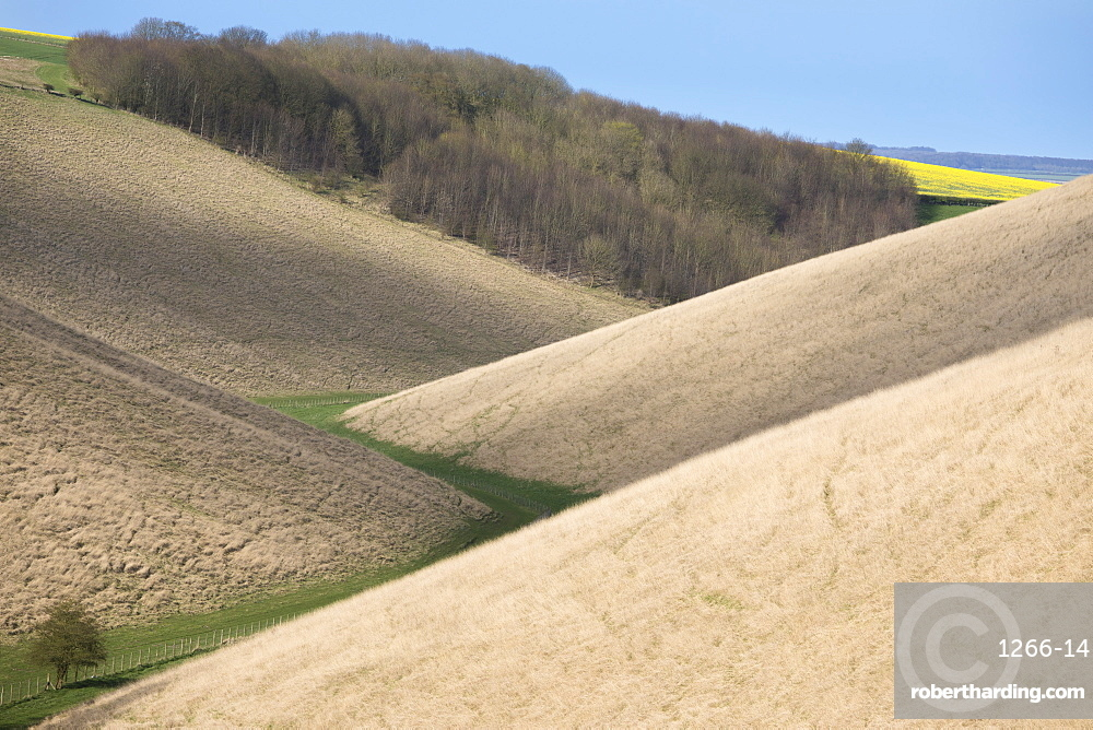 Valley footpath and overlapping hills at Horse Dale, near Huggate in the Yorkshire Wolds, East Riding of Yorkshire, Yorkshire, England, United Kingdom, Europe