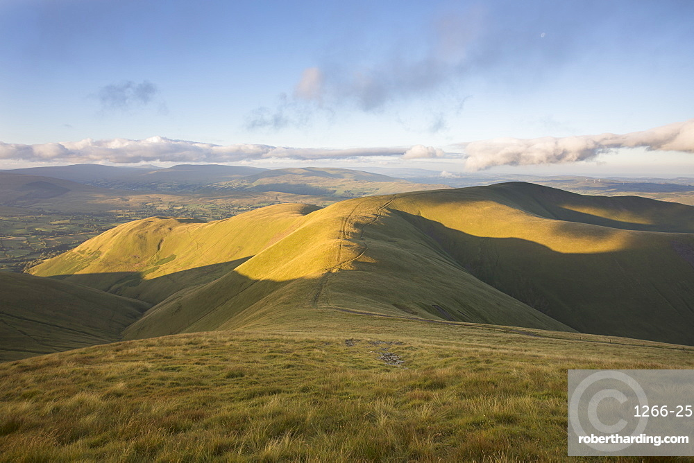 The view to Arant Haw and Ingleborough from the summit of Calders near Sedbergh in the Yorkshire Dales National Park, Cumbria, England, United Kingdom, Europe