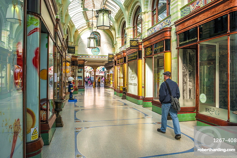 The Royal Arcade designed by architect George Skipper in Arts and Crafts style in the nineteenth century, Norwich, Norfolk, England, United Kingdom, Europe