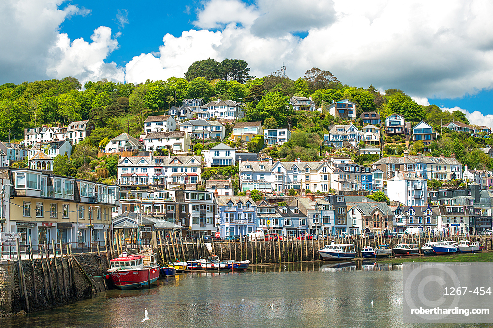 The small coastal town of Looe with hillside houses, Cornwall, England, United Kingdom, Europe