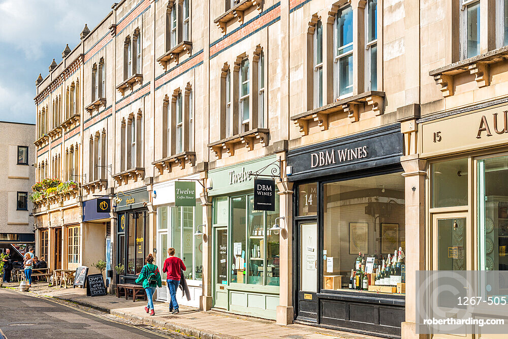 Boutique shops in affluent Clifton village in Bristol, England, UK.
