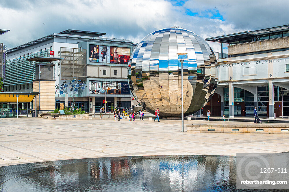 Millennium Square with the Planetarium in the form of a huge walk-in mirror ball in Bristol, England, UK.