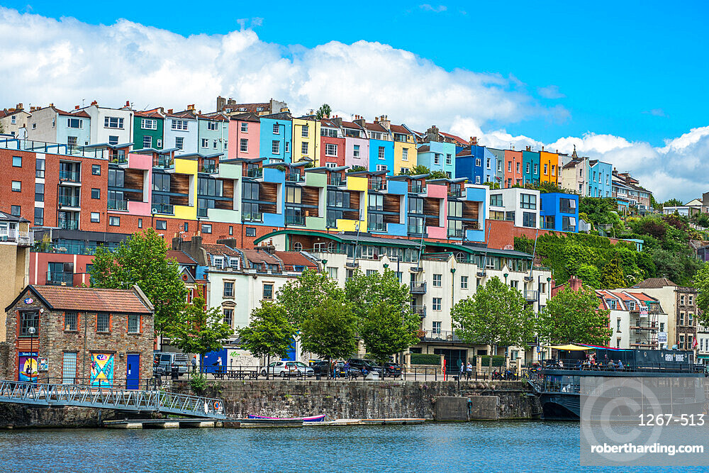 Colourful houses overlooking the river Avon at Hotwells district of Bristol, Avon, England, UK.