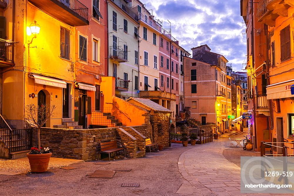 Main street of Vernazza at twilight, Cinque Terre, UNESCO World Heritage Site, Liguria, Italy, Europe