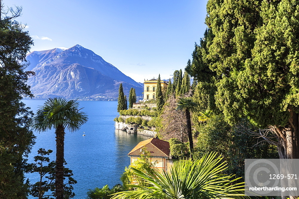 Villa Cipressi from the lakeshore of Varenna, Lake Como, Lombardy, Italian Lakes, Italy, Europe
