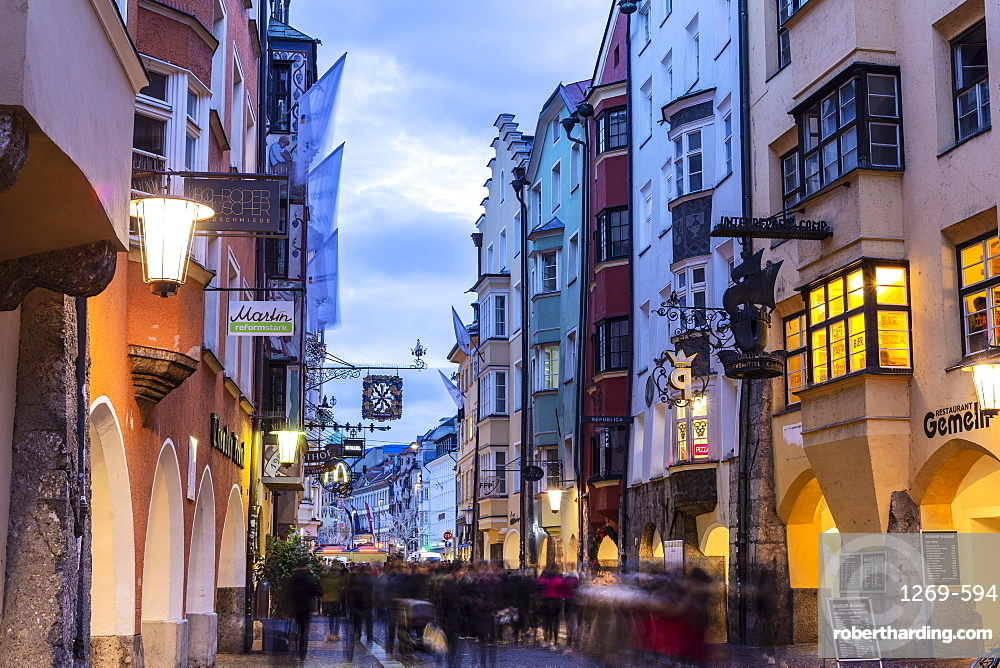 Tourists in the main street of Innsbruck, Tyrol, Austria, Europe