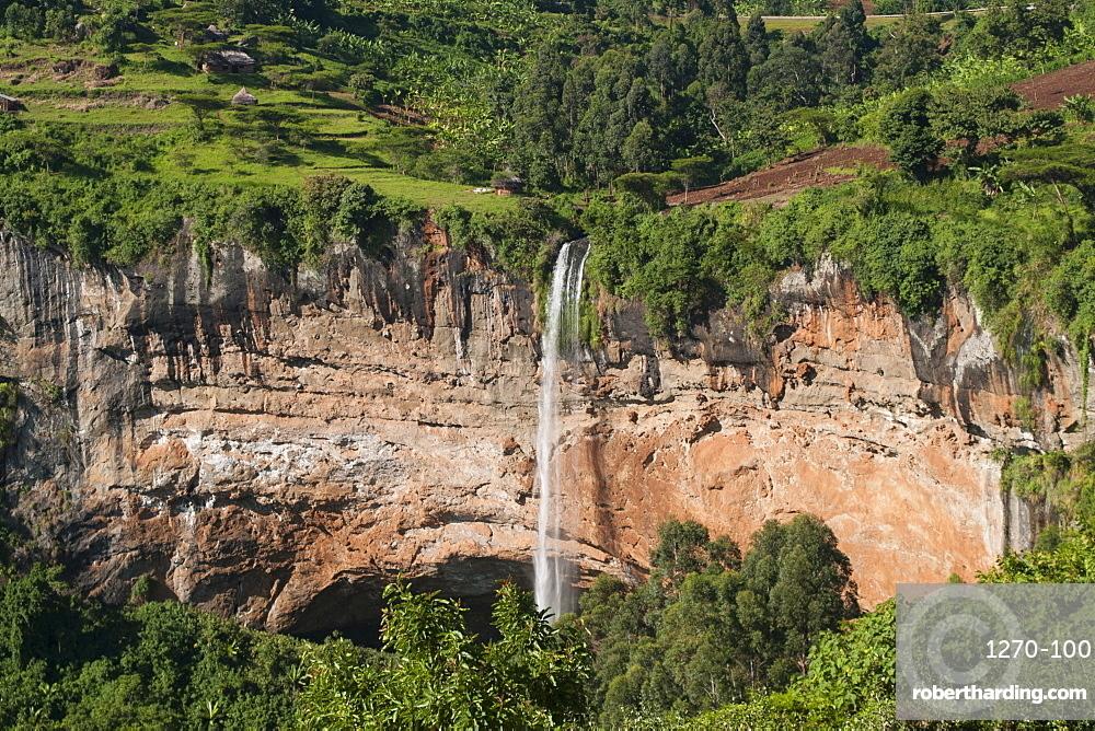 A view down on Sipi Falls in Eastern Uganda, Uganda, Africa