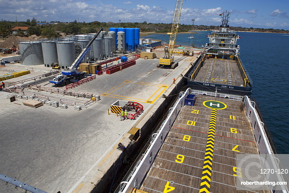 An aerial view of the ships docked at Mtwara port, Tanzania, East Africa, Africa