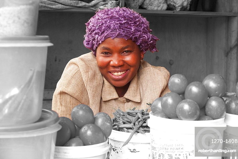A lady selling vegetables in Kigali, Rwanda, Africa