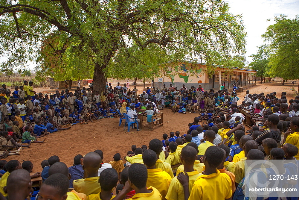 Students at a junior High School watch a play about teenage pregnancy put on by the schools Gender Club, Ghana, West Africa, Africa