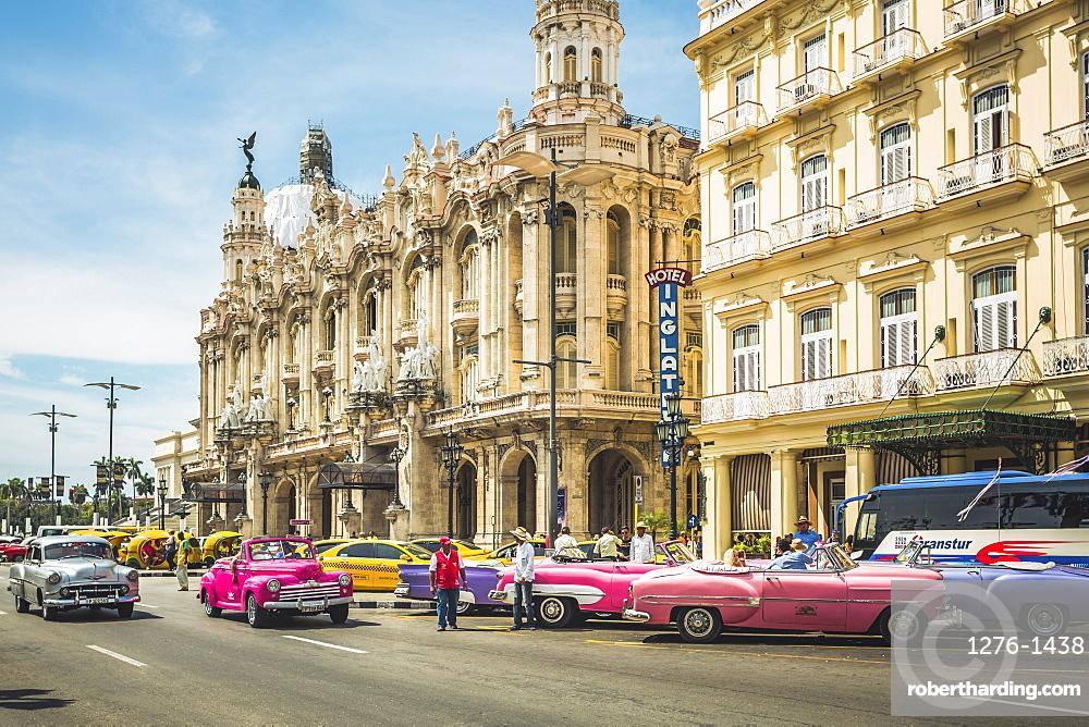 Colourful old American taxi cars outside the Gran Teatro de La Habana, Havana, Cuba, West Indies, Caribbean, Central America