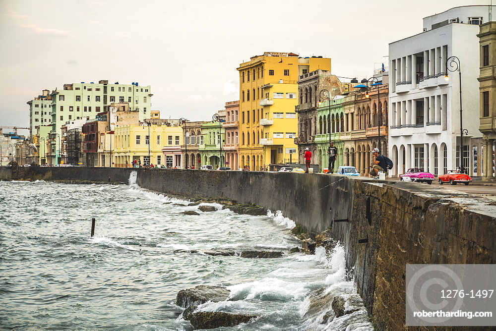 Locals fishing at The Malecon, La Habana (Havana), Cuba, West Indies, Caribbean, Central America