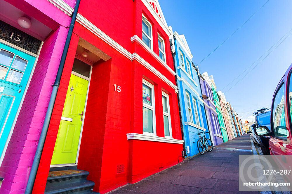 Colourful houses on Baker street, Brighton, East Sussex, England, United Kingdom, Europe