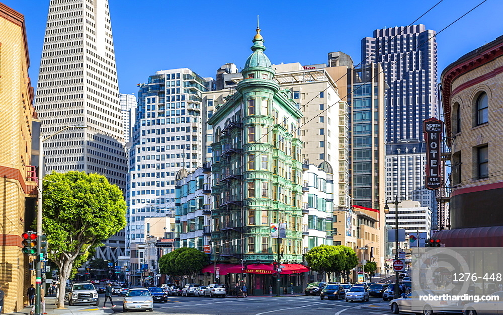 View of Transamerica Pyramid building and Columbus Tower on Columbus Avenue, San Francisco, California, United States of America, North America