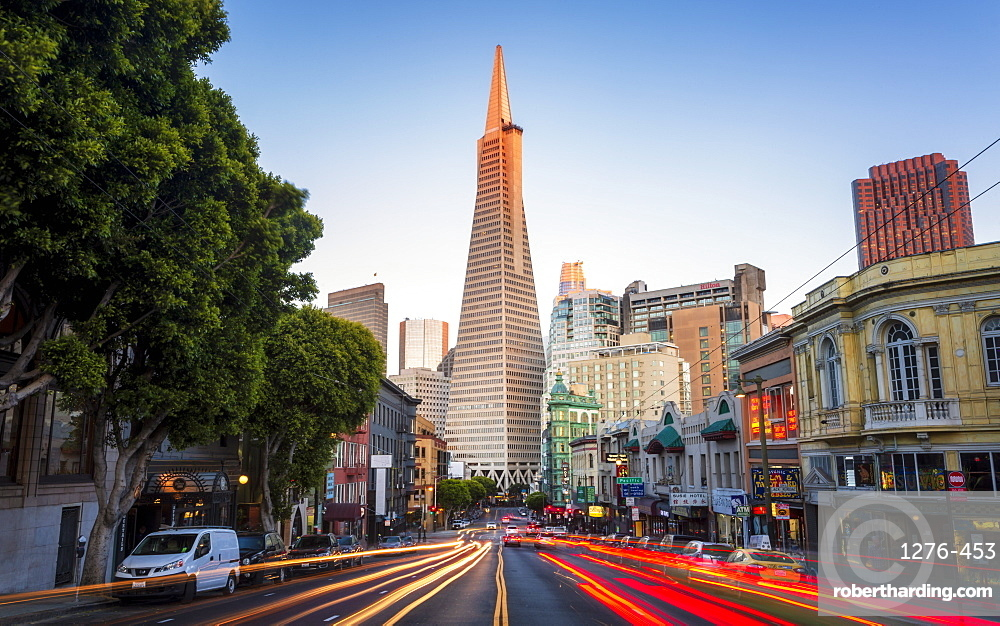 View of Transamerica Pyramid building on Columbus Avenue and car trail lights, San Francisco, California, United States of America, North America
