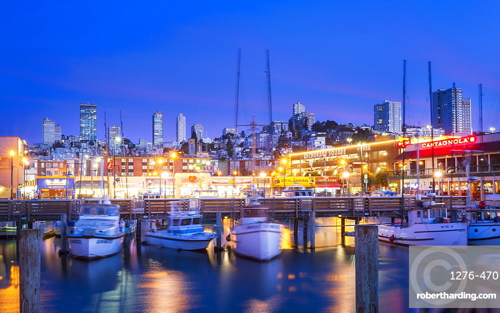 Fishermans Wharf harbor at dusk, San Francisco, California, United States of America, North America