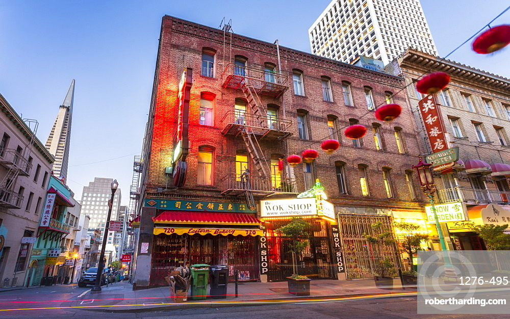 View of traditionally decorated street in Chinatown at dusk, San Francisco, California, United States of America, North America
