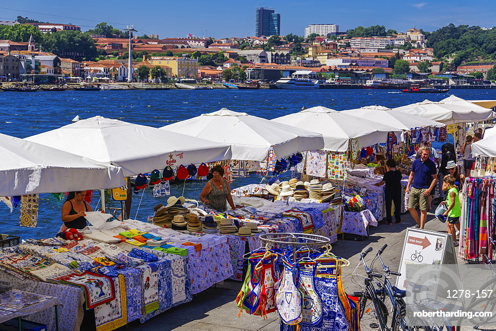 Open air street stalls and markets with cork and gift products on Douro River bank in Ribeira District, Porto, Portugal, Europe