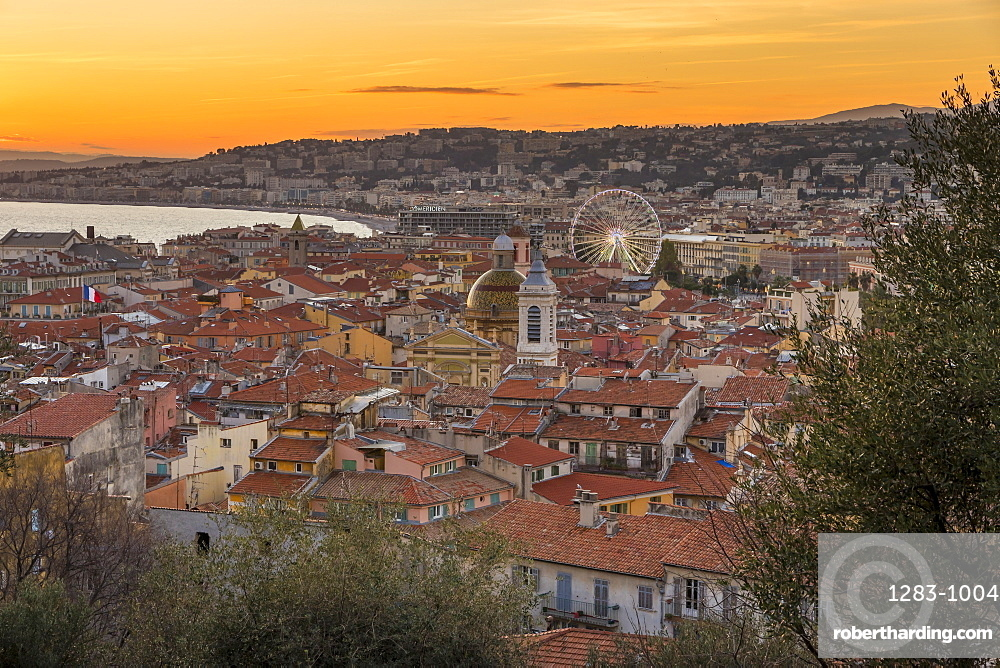 Elevated view from Castle Hill over the old town at sundown, Nice, Cote d'Azur, French Riviera, France, Mediterranean, Europe