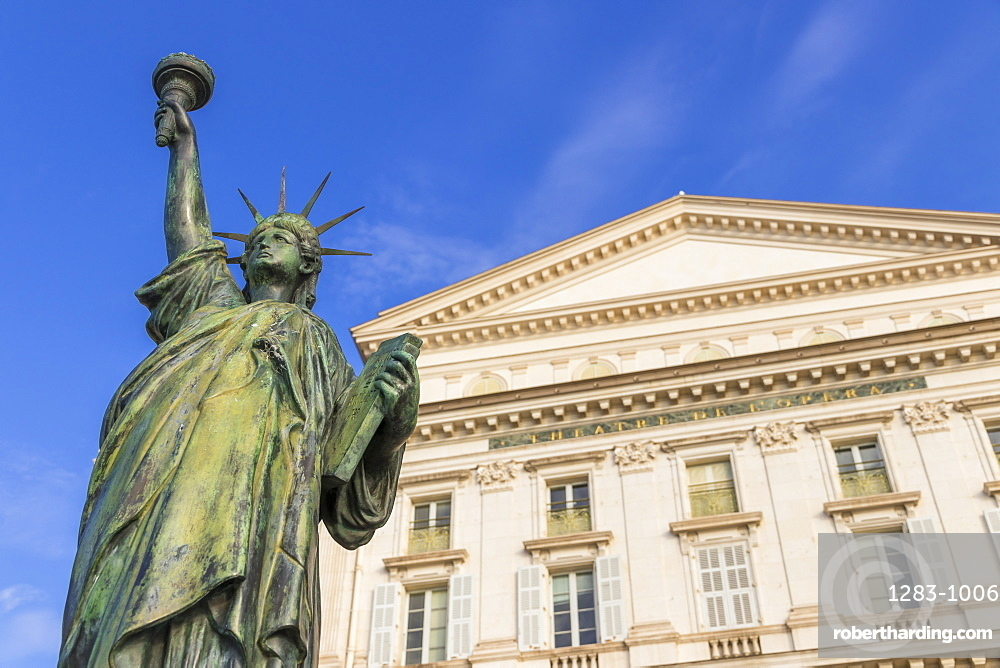 Statue of Liberty Replica at the Opera House, Nice, Alpes Maritimes, Cote d'Azur, French Riviera, Provence, France, Mediterranean, Europe