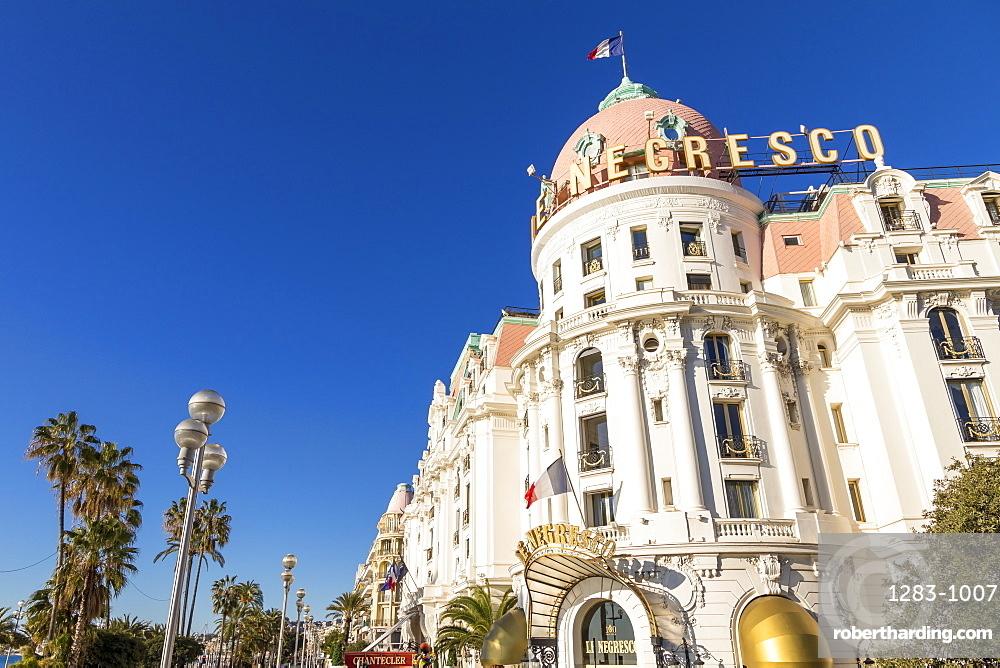 Famous Le Negresco Hotel building at Promenade des Anglais, Nice, Cote d'Azur, French Riviera, France, Europe