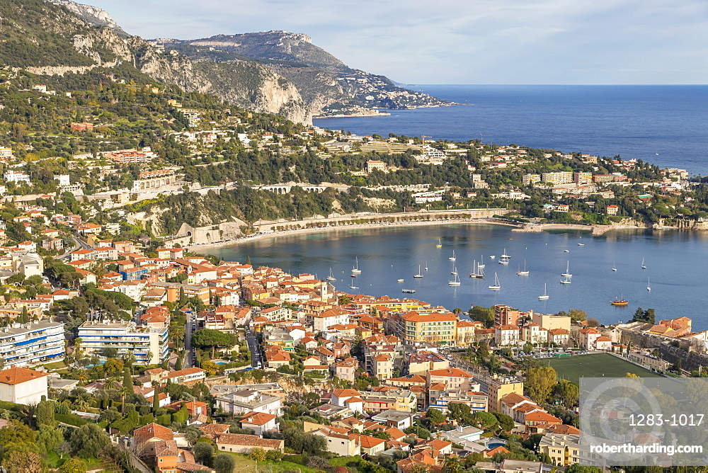 Elevated view from Mont Boron down to Villefranche sur Mer, Cote d'Azur, French Riviera, France, Europe