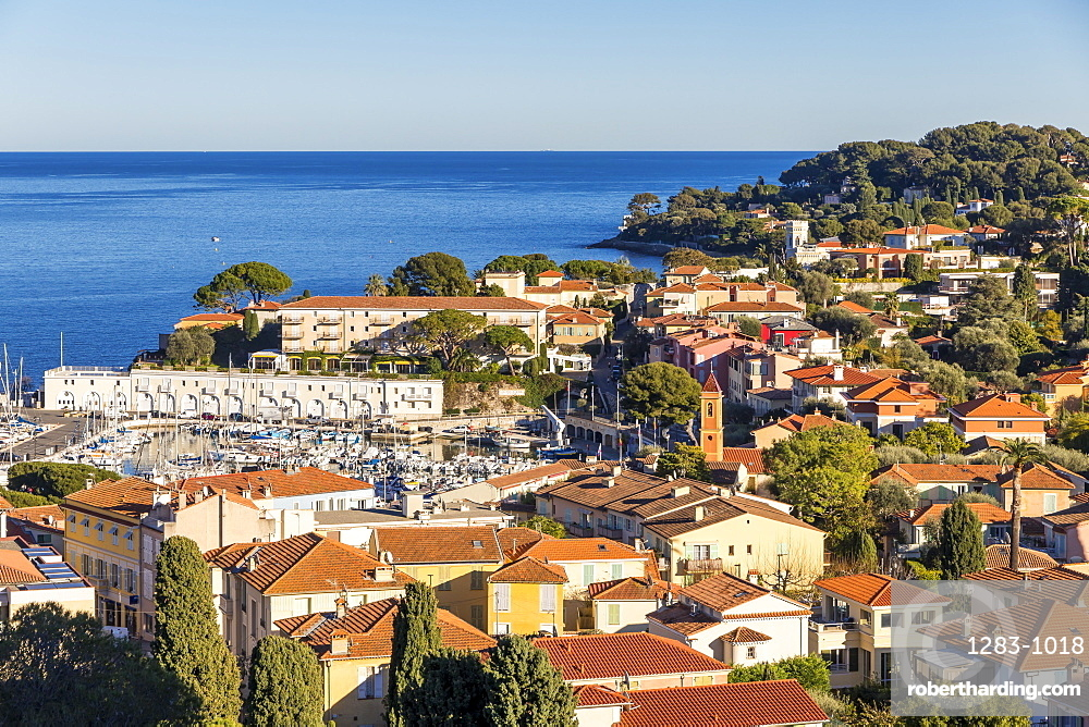 View from a lookout down to the town Saint Jean Cap Ferrat, Cote d'Azur, French Riviera, France