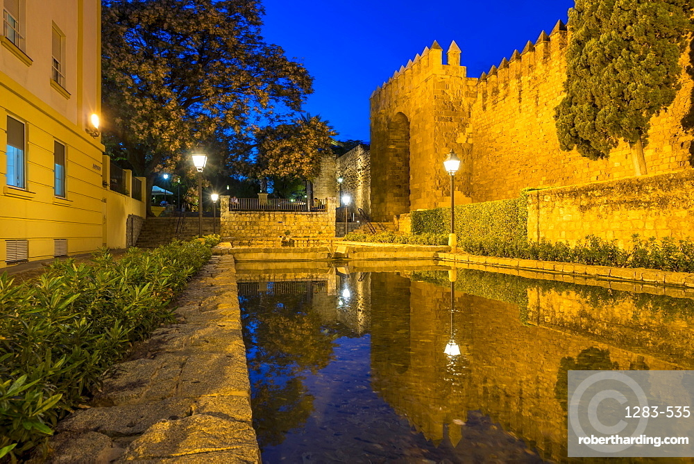 Historical Almodavar Gate at dusk, Cordoba, Andalusia, Spain, Europe
