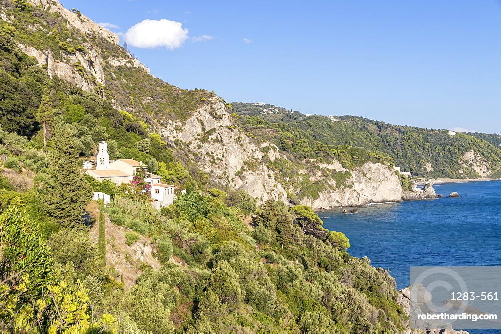 Small monastery situated in the hills above Mirtiotissa Beach, Corfu, Greek Islands, Greece, Europe