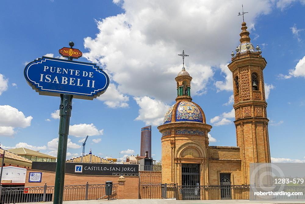 Virgen del Carmen Chapel on Isabel II Bridge in Triana Neighborhood, Seville, Andalusia, Spain, Europe