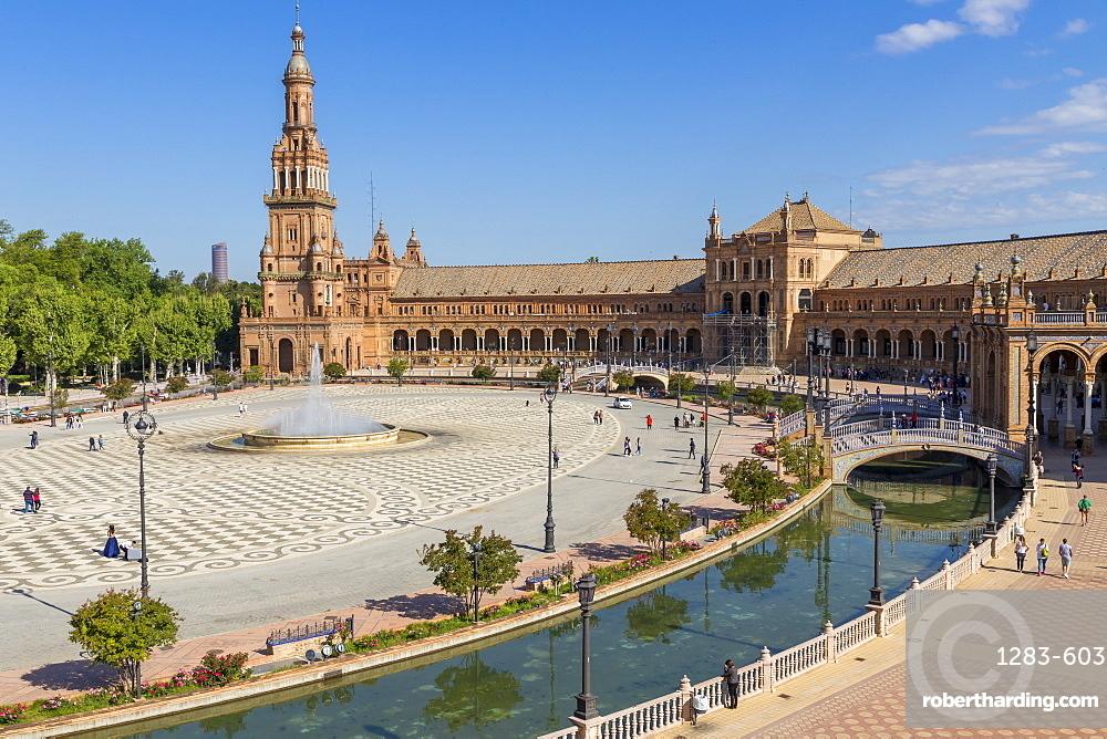 Plaza de Espana, Seville, Andalusia, Spain, Europe