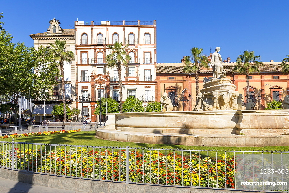 Hispalis Fountain at Puerta Jerez, Seville, Andalusia, Spain, Europe