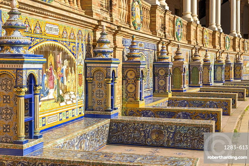 Tiled Alcoves at Plaza de Espana, Seville, Andalusia, Spain, Europe