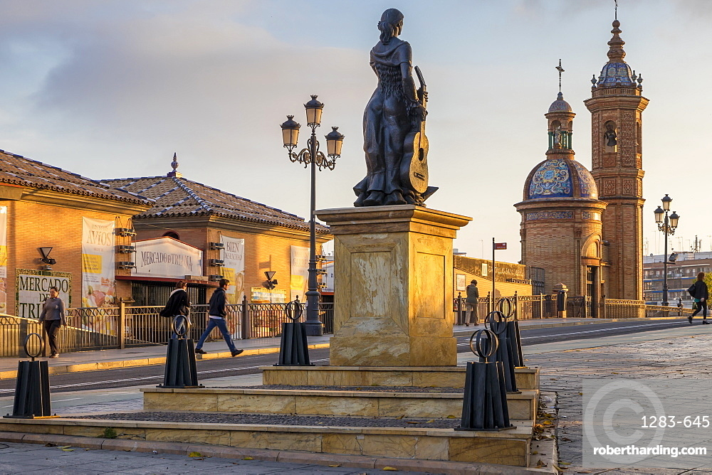 Triana al Arte flamenco monument at first sunlight, Triana Neighborhood, Seville, Andalusia, Spain, Europe