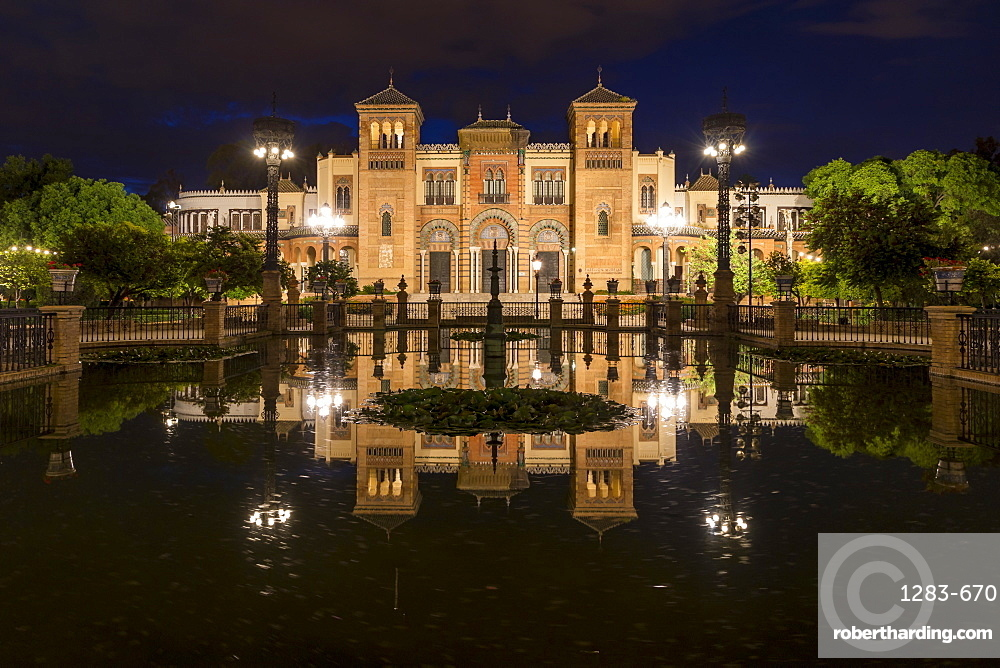 Night shot of the Museum of Popular Arts and Traditions at Plaza America, Seville, Andalusia, Spain, Europe