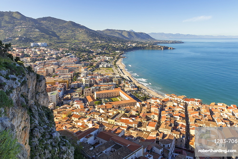 View from Rocca di Cefalu over the town and the beach, Cefalu, Sicily, Italy, Europe