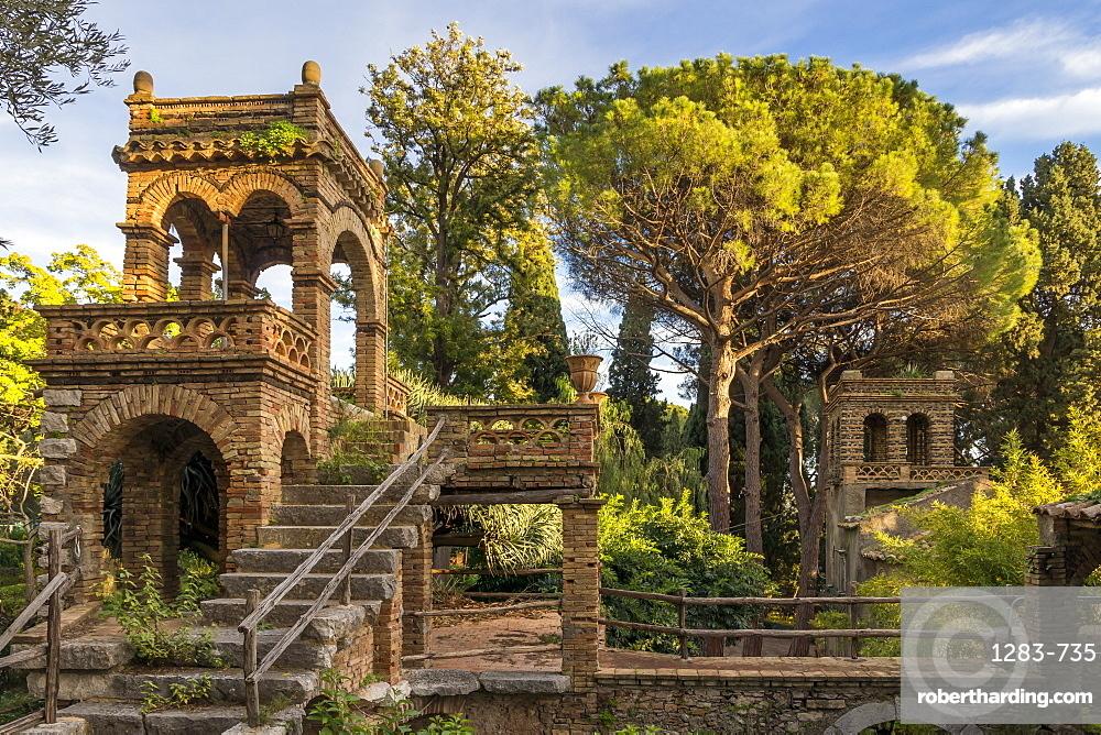 One of the so called 'Victorian Follies' inside the public garden Parco Duca di Cesaro, Taormina, Sicily, Italy, Europe