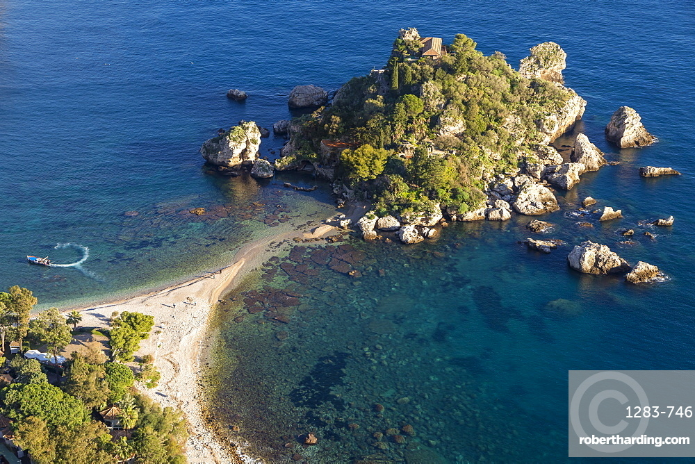 View from a lookout down to Isola Bella and the beach, Taormina, Sicily, Italy, Europe