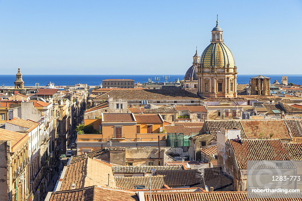View from Santissimo Salvatore Church over the old town, Palermo, Sicily, Italy, Europe
