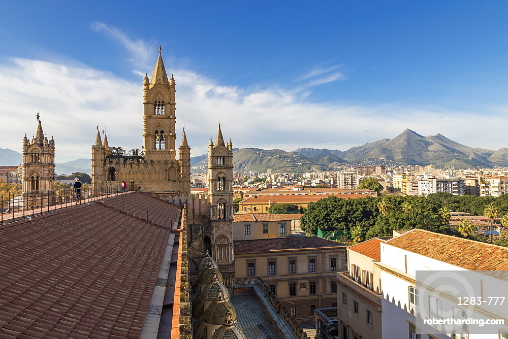 View from the rooftop of Palermo Cathedral over the city centre, Palermo, Sicily, Italy, Europe