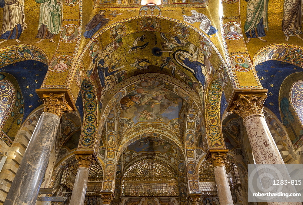 Interior of the Santa Maria dell'Ammiraglio church (La Martorana), UNESCO World Heritage Site, Palermo, Sicily, Italy, Europe