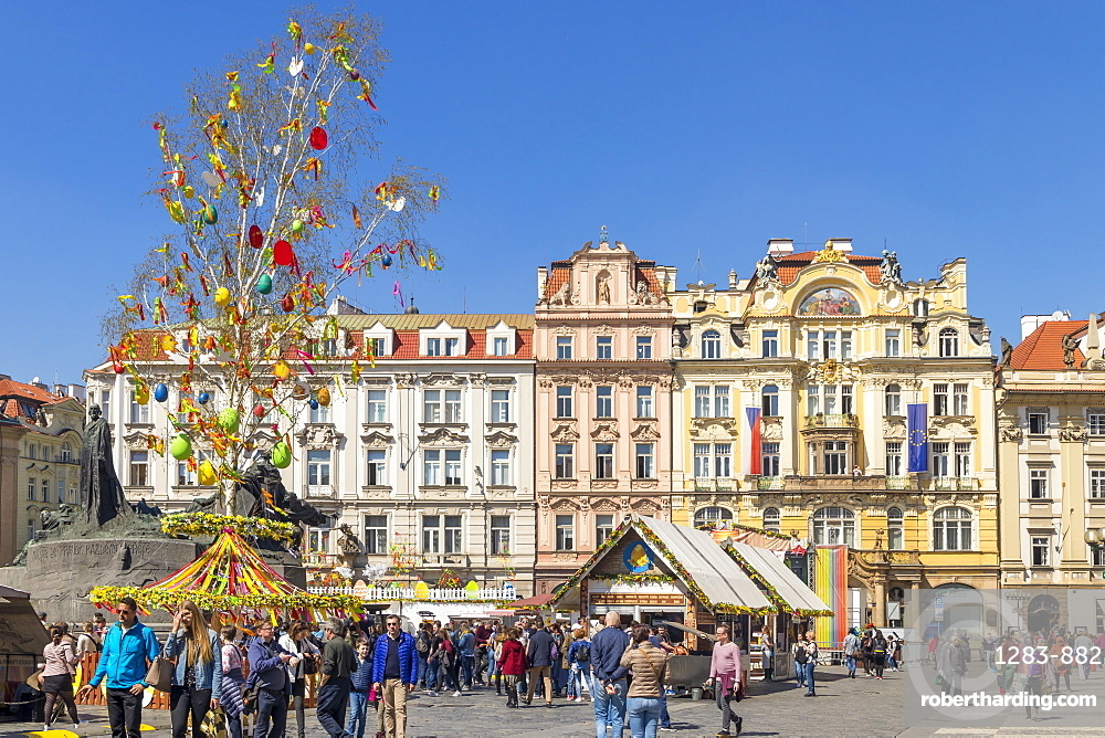 Easter Market at the old town market square, UNESCO World Heritage Site, Prague, Bohemia, Czech Republic, Europe