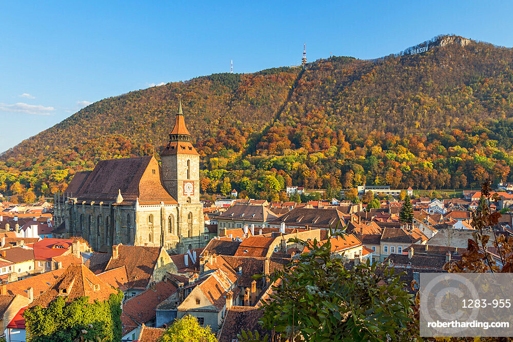 View from the Black Tower to the Black Church and Tampa Mountain during autumn, Brasov, Transylvania Region, Romania, Europe