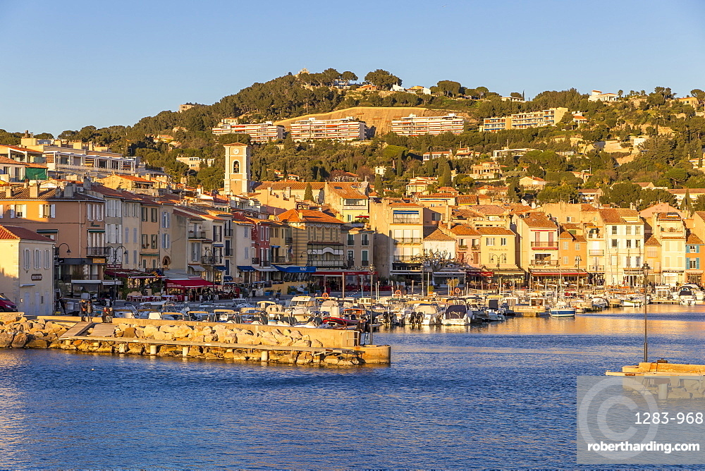 View from the port to the old town, Cassis, France, Europe
