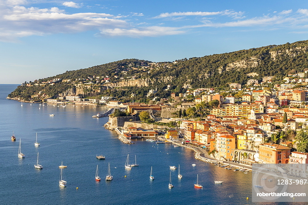 Elevated view from the Basse Corniche over Villefranche sur Mer, Alpes Maritimes, Cote d'Azur, French Riviera, France, Europe