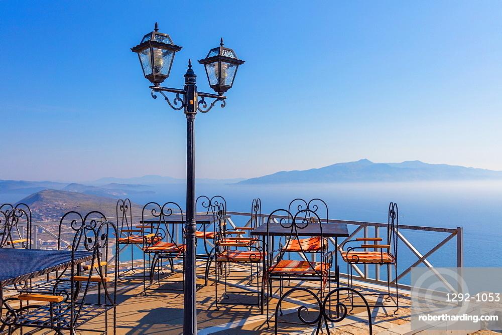 The Lekursti castle with Corfu Island in the background, South coast, Albania, Europe